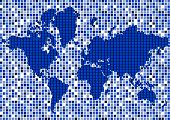 Abstract Map Of World In Dark Blue Colour. Vector Illustration