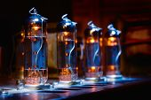 Set Of Glowing Vacuum Electron Tubes