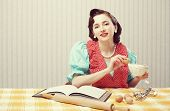stock photo of stereotype  - Vintage portrait of a housewife in the kitchen - JPG