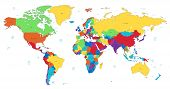 Multicolored Detailed World Map