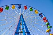 stock photo of dizzy  - Ride on Ferris wheel in Amusement Park - JPG
