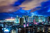 pic of hong kong bridge  - Urban city in Hong Kong at night - JPG