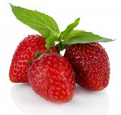 Sweet ripe strawberries isolated on white