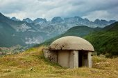 stock photo of albania  - View of Bunker in mountains of Albania - JPG