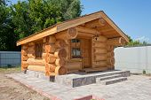 New Wooden House Made ??of Logs In Summertime