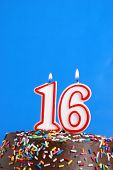 stock photo of sweet sixteen  - A number candle represents sixteen sweet years worth celebrating - JPG