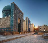 Oriental complex Shah i Zinda at twilight. Samarkand, Uzbekistan