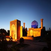 Gur e Amir - mausoleum of Tamerlane (Timur) and his family at night. Samarkand, Uzbekistan