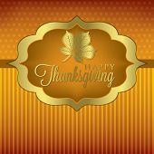 pic of give thanks  - Leaf elegant Thanksgiving card in vector format - JPG
