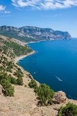 Summer View Seacoast. Sudak Beach. Black Sea, Ukraine
