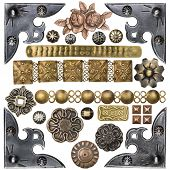 Vintage metal corners, nails, buttons and other design elements