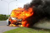 Car Burning With Fire