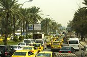 Queues of cars on the streets of Baghdad