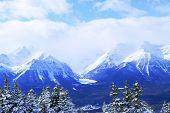 Snowy mountain ridge at Lake Louise ski resort in Canadian Rockies