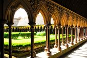 Fragment of a cloister in Mont Saint Michel abbey in France