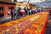 Holy Week carpet in Antigua, Guatemala