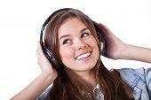 Teenage Girl Listening The Music