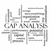 Gap Analysis Word Cloud Concept In Black And White
