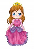 stock photo of chibi  - Cute cartoon illustration of a queen isolated on white - JPG