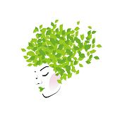 Hair with green leaves