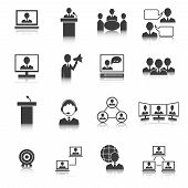 Business People Meeting Icons Set