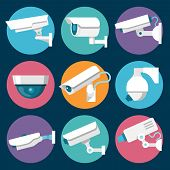 stock photo of cctv  - Digital CCTV multiple security cameras color stickers set isolated vector illustration - JPG
