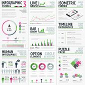 Infographic vector elements template. Big set of typography based creative objects easy to edit.