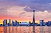 foto of urbanisation  - Scenic view at Toronto city waterfront skyline at sunset - JPG