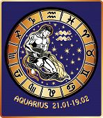 Aquarius Zodiac Sign. Horoscope Circle.retro Illustration