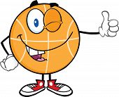 Winking BasketBall Cartoon Character Holding A Thumb Up