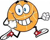 Smiling Basketball Cartoon Character Running