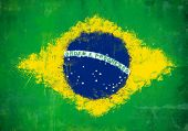 picture of mural  - Grunge and ruined murales painted Brazilian flag - JPG