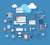 picture of cpu  - Vector illustration of hardware and cloud computing concept on blue background with long shadow - JPG