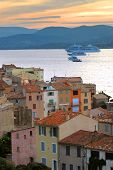 View at St.Tropez and cruise ships at sunset in French Riviera