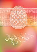 Easter egg card design with folk decoration