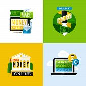 Flat Vector Design Of Make Money Concept With Financial Icons And Dollar Symbols