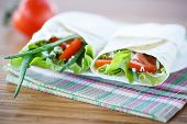 Pita Bread With Lettuce And Vegetables