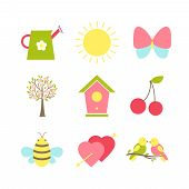 stock photo of songbird  - Set of spring icons depicting a watering can  sunshine  butterfly  cherry blossom  dovecote or nesting box  cherries  bee  Valentine hearts and songbirds  silhouette vector illustrations - JPG