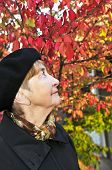 Senior woman looking up in fall park