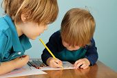 stock photo of paper craft  - Concept of preschool kids education learning and art child drawing in class - JPG