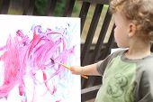 pic of finger-painting  - Toddler boy child drawing finger painting making art - JPG