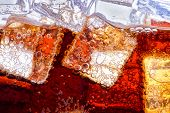 Background of cola with ice