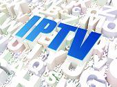 Web development concept: IPTV on alphabet background