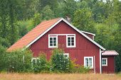 Red Swedish Wooden House
