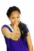 Isolated portrait of black teenage girl gesturing thumbs up