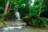 stock photo of cataracts  - Wonderful of Erawan Waterfall Kanchanaburi Thailand Relax - JPG