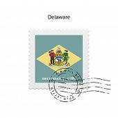 State of Delaware flag postage stamp.