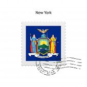 State of New York flag postage stamp.