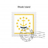 State of Rhode Island flag postage stamp.