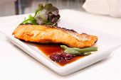Grilled Salmon With Teriyaki Sauce On The Table